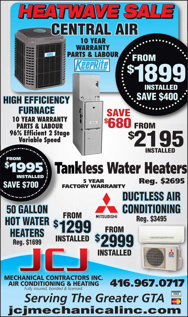 Lennox Air Conditioning >> Specials | Toronto Heating, Furnaces, Installation, Air Conditioning, Central Air Conditioning ...